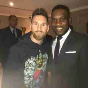 """""""Two World Best"""": Super Eagles Legend, Jay-Jay Okocha Poses With Lionel Messi"""